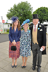 Left to right, JOANNA LASCELLES, RACHEL HOOD and JOHN GOSDEN at the Investec Derby at Epsom Racecourse, Epsom, Surrey on 4th June 2016.