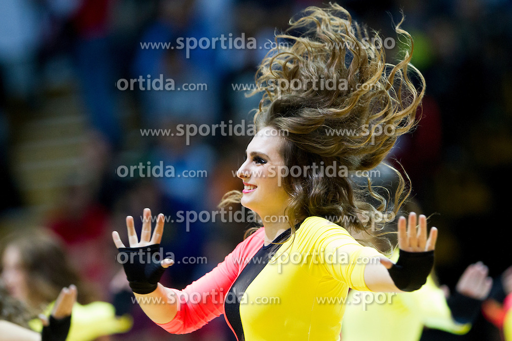 "Cheerleaders KK Cedevita ""Cedevitasice"" during Euroleague basketball match in 6th Round of Group B between KK Cedevita Zagreb and Olympiacos Piraeus, on November 19, 2015, in Drazen Petrovic basketball hall, Zagreb, Croatia."