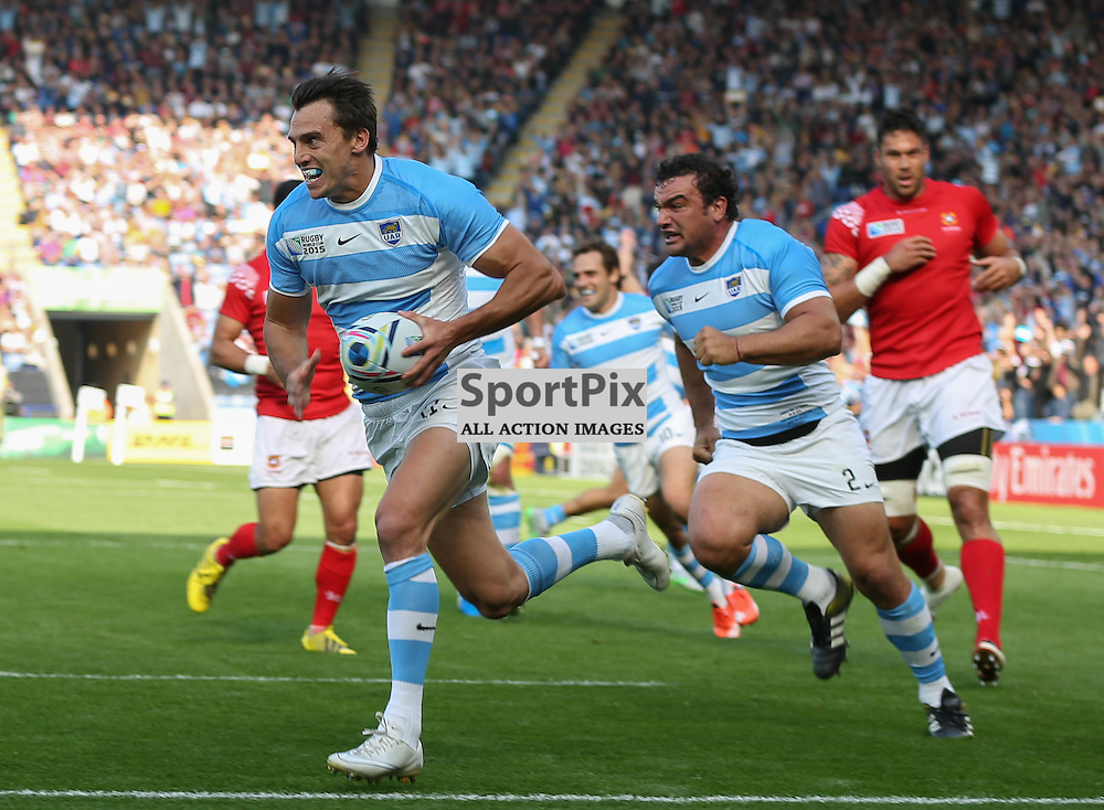 Juan Imhoff about to score during the Rugby World Cup Argentina v Tonga, Sunday 04 October 2015, Leicester City Stadium, Leicester, England Stadium (Photo by Mike Poole - SportPix)