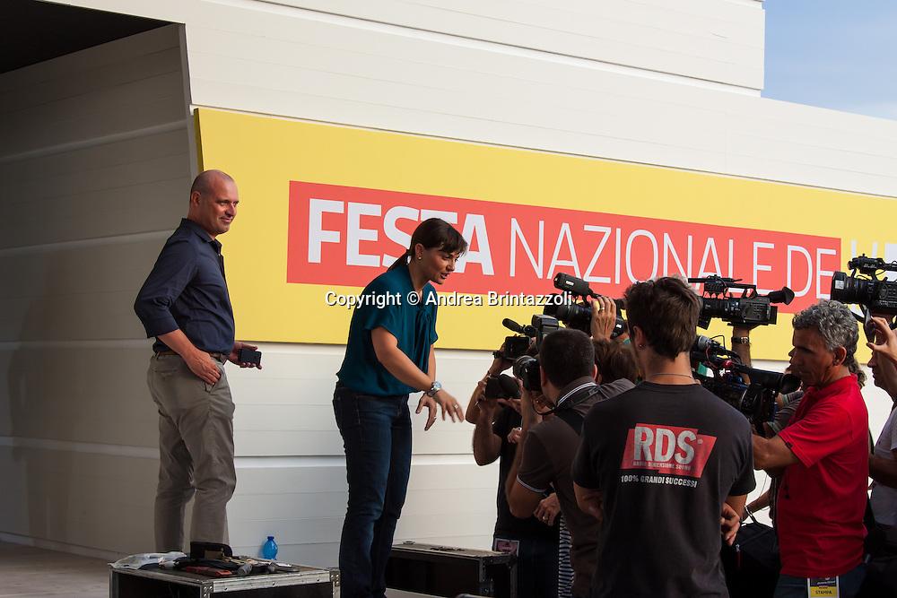 Bologna 27 Agosto 2014 - Inaugurazione Festa Nazionale de L'Unit&agrave;. Che storia, il futuro!<br /> Nella foto: Stefano Bonaccini, Debora Serracchini