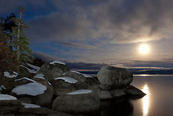 """""""Full Moon over Lake Tahoe 7"""" - These snow covered boulders and full moon were photographed in the early morning near Memorial Point, Lake Tahoe."""
