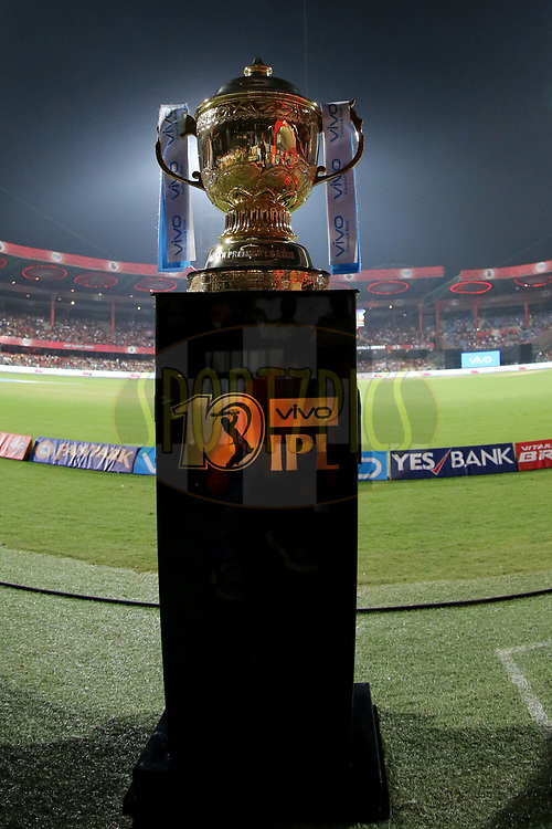 IPL 10 trophy on plinth during match 5 of the Vivo 2017 Indian Premier League between the Royal Challengers Bangalore and the Delhi Daredevils held at the M.Chinnaswamy Stadium in Bangalore, India on the 8th April 2017<br /> <br /> Photo by Faheem Hussain - IPL - Sportzpics
