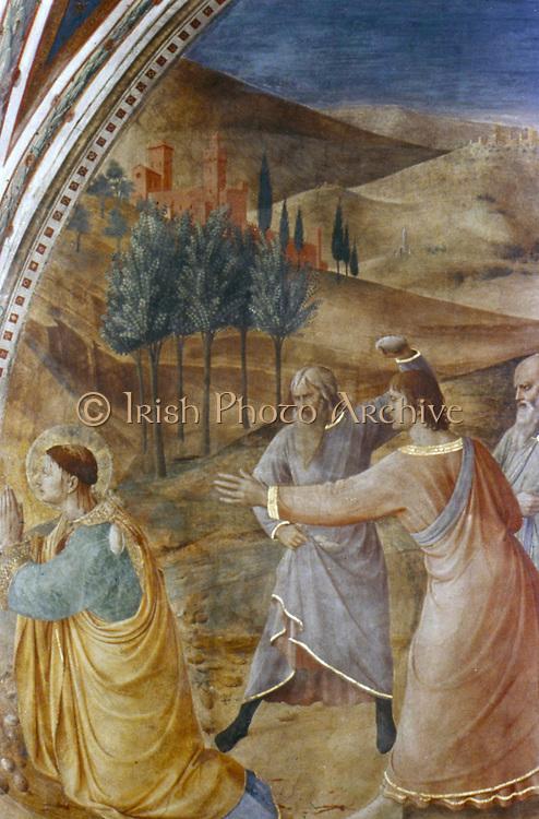 Stoning of St Stephen',  Fra Angelico (Guido di Pietro/Giovanni da Fiesole c1400-55) Italian painter. Fresco, Chapel of Nicholas V, Vatican Palace.