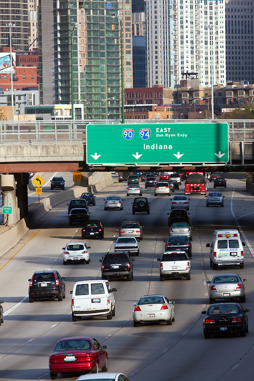 Traffic on the Kennedy Expressway approaches Hubbards Cave and the Chicago Loop southbound in the late evening as rush hour begins to wind down.