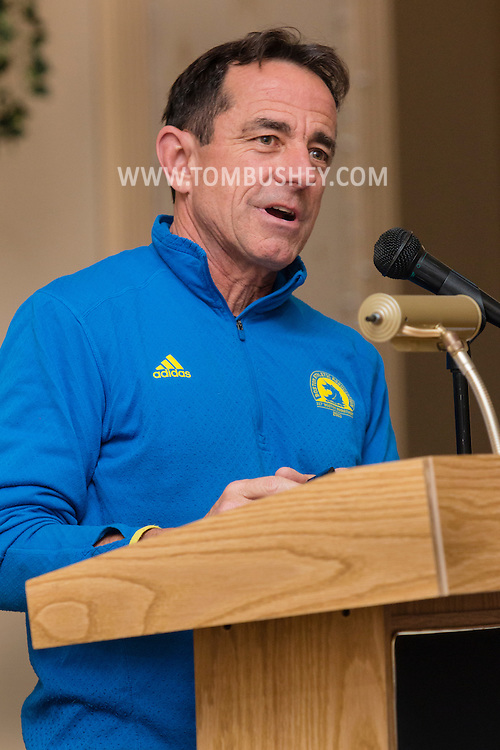 Boston Marathon race director Dave McGillivray speaks at a special meeting of the  Orange Runners Club at Kuhl's Highland House in Middletown, New York.