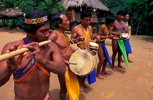 Embera Indian Musicians Chagres National Park Panama Central America