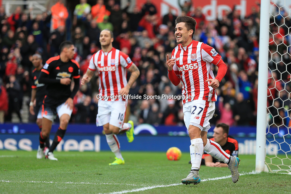 26th December 2015 - Barclays Premier League - Stoke City v Manchester United - Bojan Krkic of Stoke celebrates after scoring their 1st goal - Photo: Simon Stacpoole / Offside.
