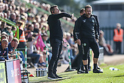 Forest Green Rovers manager, Mark Cooper gives instructions during the EFL Sky Bet League 2 match between Forest Green Rovers and Cheltenham Town at the New Lawn, Forest Green, United Kingdom on 20 October 2018.