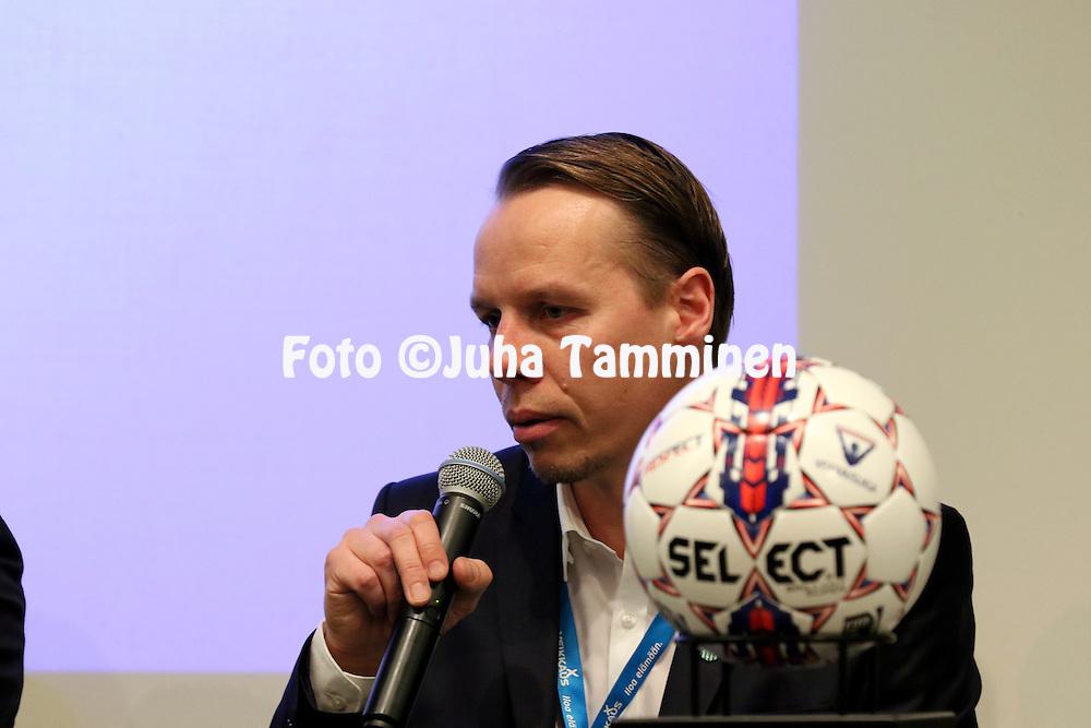 1.4.2015, Helsinki. <br /> Veikkausliigan 2015 Media-avaus.<br /> Valmentaja Sami Ristil&auml; - KTP