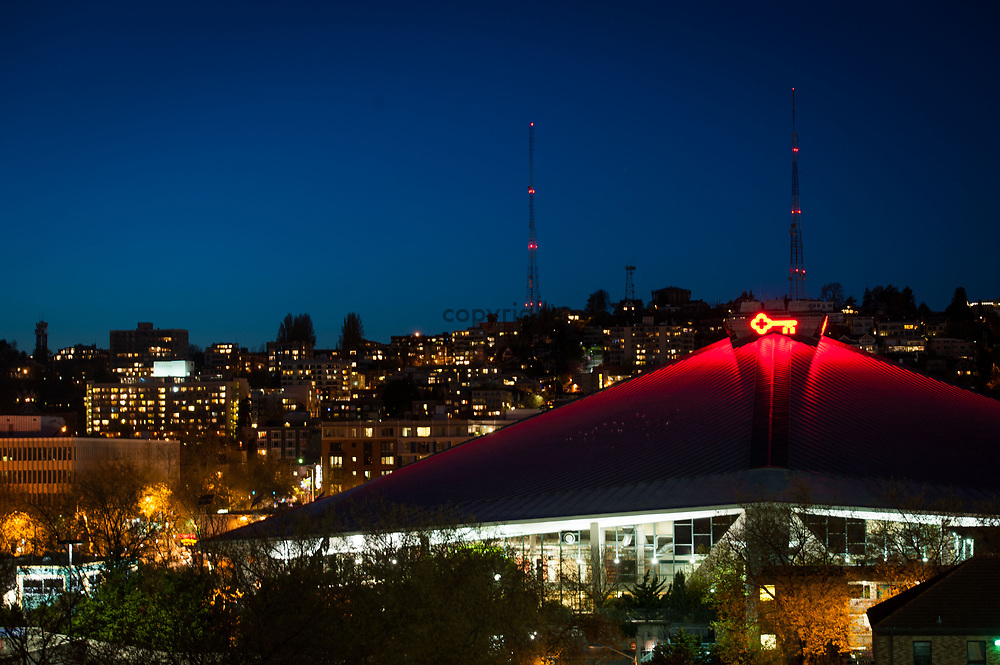 2013 April 22 - View of Queen Anne and Key Arena at Seattle Center, Seattle, WA. By Richard Walker