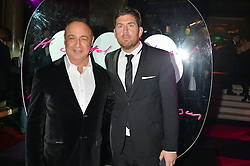 Left to right, LEN BLAVATNIK and MAX LOUSADA at the Warner Music Brit Party held at the Freemason's Hall, 60 Great Queen Street, London on 25th February 2015.