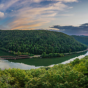 Sunset over the New River Gorge as seen from the Hawks Nest Overlook. Ansted, West Virginia.