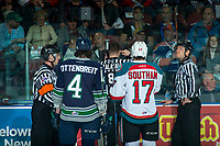 KELOWNA, CANADA - APRIL 26: Turner Ottenbreit #4 of the Seattle Thunderbirds and Rodney Southam #17 of the Kelowna Rockets stand at the penalty box as a goal is reviewed during first period on April 26, 2017 at Prospera Place in Kelowna, British Columbia, Canada.  (Photo by Marissa Baecker/Shoot the Breeze)  *** Local Caption ***