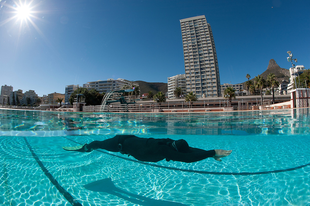 Champion Freediver Trevor Hutton training in pool.