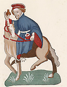 Geoffrey Chaucer (c1345-1400) English poet. The Manciple, man who buys provisions for a college, monastery or inn of court. After the illustration in the Ellesmere manuscript of 'Canterbury Tales' 14th century.