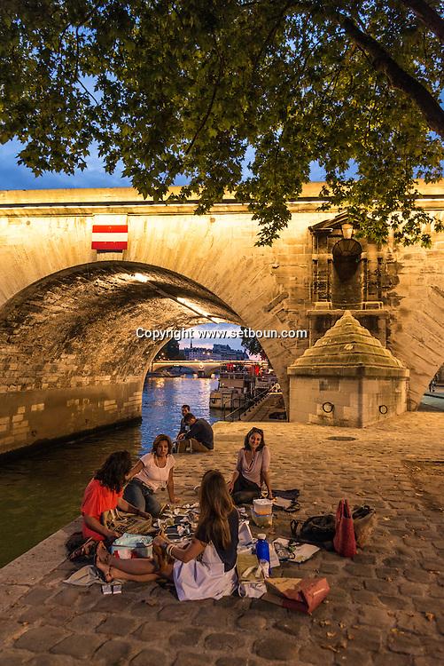 France. Paris. 4th district. Seine river. quay des Celestins. .  The pont Marie on the Seine river connect Le Marais to ile Saint Louis.