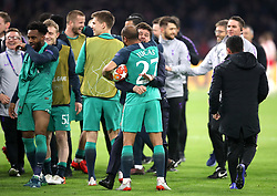 Tottenham Hotspur's Lucas Moura and manager Mauricio Pochettino celebrate after the final whistle during the UEFA Champions League Semi Final, second leg match at Johan Cruijff ArenA, Amsterdam.