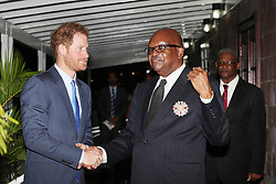 Prince Harry meets Governor-General of Saint Kitts and Nevis Sir Tapley Seaton at Government House, Basseterre, during the second leg of his Caribbean tour.