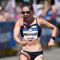 Miranda Melville celebrates after finishing second in the womens Olympic Trials 20K race walk in Salem, Ore., on Thursday  June 30, 2016.