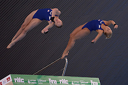 25.04.2014, Aquatics Centre, London, ENG, FINA, NVC Diving World Series 2014, Tag 1, im Bild Rebecca Gallantree and Hannah Starling of Great Britain competing in the women's synchro 10m platform final // Rebecca Gallantree and Hannah Starling of Great Britain competing in the women's synchro 10m platform final during day one of the FINA/NVC Diving World Series 2014 Aquatics Centre in London, Great Britain on 2014/04/25. EXPA Pictures © 2014, PhotoCredit: EXPA/ Mitchell Gunn<br /> <br /> *****ATTENTION - OUT of GBR*****