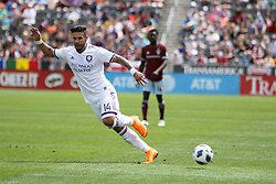April 29, 2018 - Commerce City, Colorado - Orlando City SC forward Dom Dwyer (14) makes a cut after he sends a pass to the corner in the first half of action in the MLS soccer game between Orlando City SC and the Colorado Rapids at Dick's Sporting Goods Park in Commerce City, Colorado (Credit Image: © Carl Auer via ZUMA Wire)