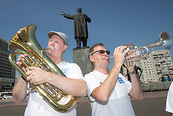 Steve Wood 54 (left) and John Hemmingham 55 of the England Band in Lenin Square, Nizhny Novgorod ahead of England's second World Cup Group G game in the 2018 FIFA World Cup in Russia.