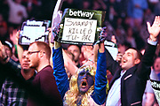 A fan during the Betway Premier League Darts at the Manchester Arena, Manchester, United Kingdom on 23 March 2017. Photo by Mark Pollitt.