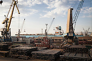 Industrial scene. The Maersk Container ship, Nedlloyd Mercator, in the Russian Black Sea port of Novorossiysk
