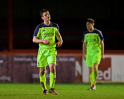 ALTRINGHAM, ENGLAND - Friday, March 10, 2017: Liverpool's Liam Coyle looks dejected as Manchester United score the second goal to take a 2-1 lead during an Under-18 FA Premier League Merit Group A match at Moss Lane. (Pic by David Rawcliffe/Propaganda)