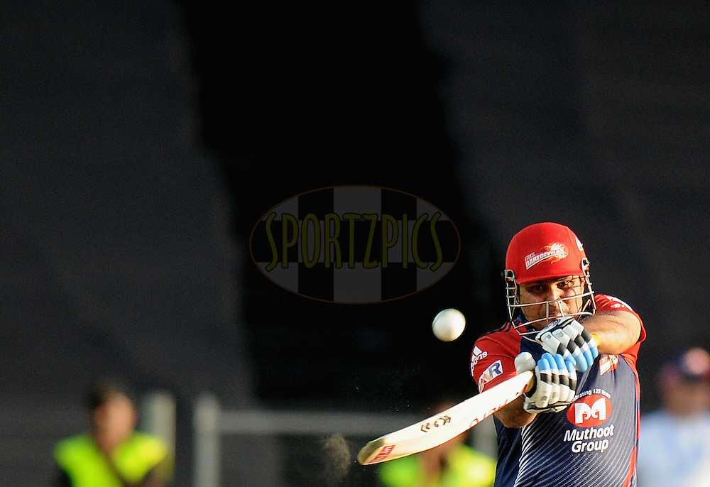 Virender Sehwag captain of Delhi Daredevils  bats during match 31 of the Indian Premier League ( IPL) 2012  between The Pune Warriors India and the Delhi Daredevils held at the Subrata Roy Sahara Stadium, Pune on the 24th April 2012..Photo by Pal Pillai/IPL/SPORTZPICS