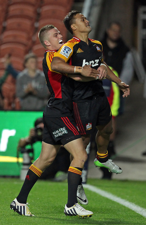 Chiefs' Tim Nanai-Williams is congratulated by Chiefs' Gareth Anscombe for scoring a try against the Sharks in a Super Rugby match, Waikato Stadium, Hamilton, New Zealand, Saturday, April 27, 2013.  Credit:SNPA / David Rowland