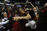 Ole Miss' Murphy Holloway (31) and Ole Miss' Marshall Henderson (22) celebrate beating Florida in the SEC championship game at Bridgestone Arena in Nashville, Tenn. on Sunday, March 17, 2013. Ole Miss won 66-63.