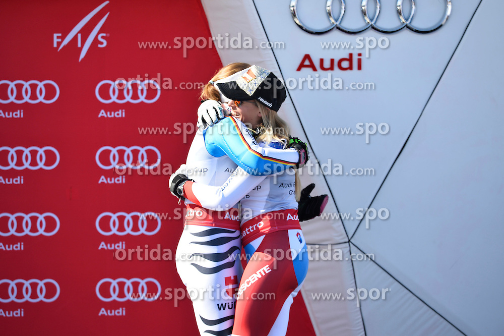 20.03.2016, Engiadina, St. Moritz, SUI, FIS Weltcup Ski Alpin, St. Moritz, Weltcup Siegerehrung, im Bild Lara Gut (SUI) umarmt Viktoria Rebensburg (GER) // during Alpine World Cup award winner ceremony of St. Moritz Ski Alpine World Cup finals at the Engiadina in St. Moritz, Switzerland on 2016/03/20. EXPA Pictures &copy; 2016, PhotoCredit: EXPA/ Freshfocus/ Manuel Lopez<br /> <br /> *****ATTENTION - for AUT, SLO, CRO, SRB, BIH, MAZ only*****