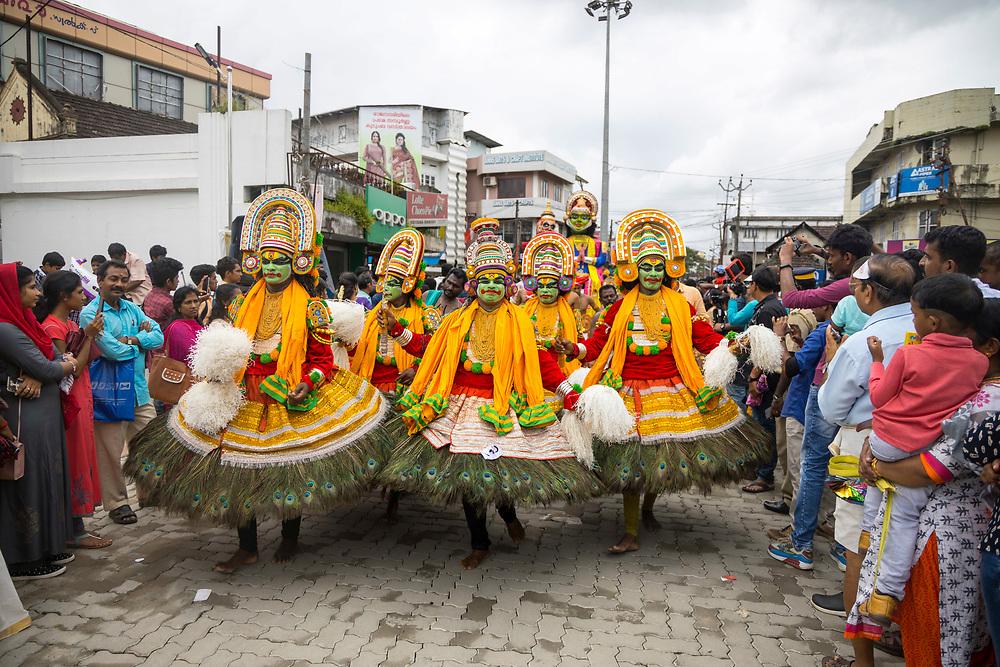 KOCHI, INDIA - 2nd September 2019 - Athachamayam is a cultural fiesta in the form of a parade which runs through Thripunithra town to mark the day of Atham - the beginning of Onam Festival in Kerala. It provides a rare opportunity to witness depictions of almost all the folk art forms of Kerala in one street procession, as well as other popular Indian myths, legends, deities and key moments in Indian history.  Thripunithura, Ernakulam District of Kochi (Cochin), Kerala, Southern India.