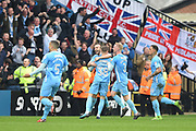 The Sky Blues celebrate after Coventry City's Jordan Ponticelli (38) scores a goal to make it 1-1 during the EFL Sky Bet League 2 match between Notts County and Coventry City at Meadow Lane, Nottingham, England on 7 April 2018. Picture by Jon Hobley.