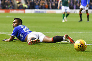 Alfredo Morelos looks for a penalty during the Ladbrokes Scottish Premiership match between Hibernian and Rangers at Easter Road, Edinburgh, Scotland on 19 December 2018.