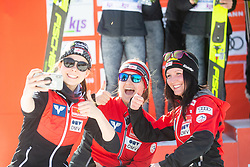 Team of Austria celebrates after Day 1 of FIS Ski Jumping World Cup Ladies Ljubno 2020, on February 22th, 2020 in Ljubno ob Savinji, Ljubno ob Savinji, Slovenia. Photo by Matic Ritonja / Sportida