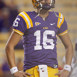 November 12, 2011; Baton Rouge, LA, USA;  LSU Tigers quarterback Stephen Rivers (16) prior to kickoff of of a game against the Western Kentucky Hilltoppers at Tiger Stadium. LSU defeated Western Kentucky 42-9. Mandatory Credit: Derick E. Hingle-US PRESSWIRE