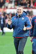 Brentford Head Coach Dean Smith prior to the game during the Sky Bet Championship match between Brentford and Cardiff City at Griffin Park, London, England on 19 April 2016. Photo by Matthew Redman.