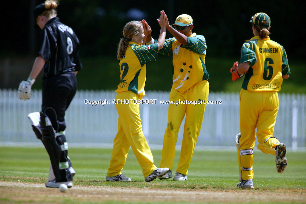 15 February 2004.<br />Rosebowl Cricket series, Match 2, New Zealand v Australia, Hamilton, New Zealand.<br />Australian bowler Julie Hayes celebrates dismissing Haidee Tiffen<br />&copy; Pic: Andrew Cornaga/Photosport