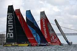 November 3, 2017 - Lisbon, Portugal - (L-R) Team Brunel captained by Dutch Bouwe Bekking, MAPFRE team captained by Spanish Xabi Fernandez, Vestas 11th Hour Racing team captained by American Charlie Enright, Dongfeng Race team captained by French Charles Caudrelier and Turn the Tide on Plastic team captained by Britain Dee Caffari in action during the Volvo Ocean Race 2017-2018 In-port Race at the Tagus River in Lisbon, Portugal on November 3, 2017. (Credit Image: © Pedro Fiuza/NurPhoto via ZUMA Press)