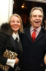 AMANDA ELIASCH and SEBASTIAN RILEY-SMITH at a private view of an exhibition of photographs by the late Robert Mapplethorpe curated by artist David Hockney at the Alison Jacques Gallery, 4 Clifford Street, London W1 on 13th January 2005.<br />