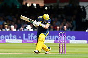 Sam Northeast of Hampshire avoids a short pitched ball from Jamie Overton of Somerset during the Royal London 1 Day Cup Final match between Somerset County Cricket Club and Hampshire County Cricket Club at Lord's Cricket Ground, St John's Wood, United Kingdom on 25 May 2019.
