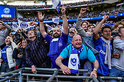 Portsmouth fans celebrate winning the EFL Checkatrade Trophy during the EFL Trophy Final match between Portsmouth and Sunderland at Wembley Stadium, London, England on 31 March 2019.