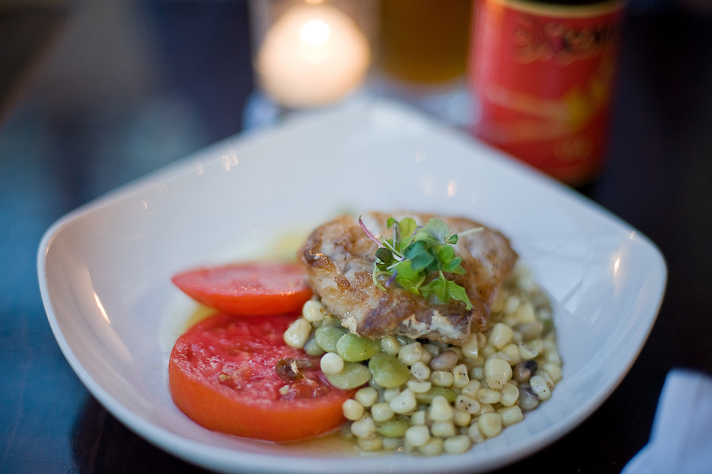 Richmond, VA - June 28, 2009 -An appetizer of braised tilefish served with a summer succotash and Hanover tomatoes at Mezzanine,  Head chef Todd Johnson's new restaurant features a menu created from the offerings of handpicked local farmers and fishermen.  .Photo © Susana Raab 2009,