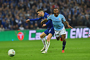 Jorginho (5) of Chelsea fouls Raheem Sterling (7) of Manchester City during the Carabao Cup Final match between Chelsea and Manchester City at Wembley Stadium, London, England on 24 February 2019.