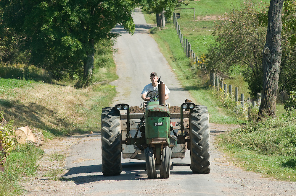 Man driving a tractor down the road