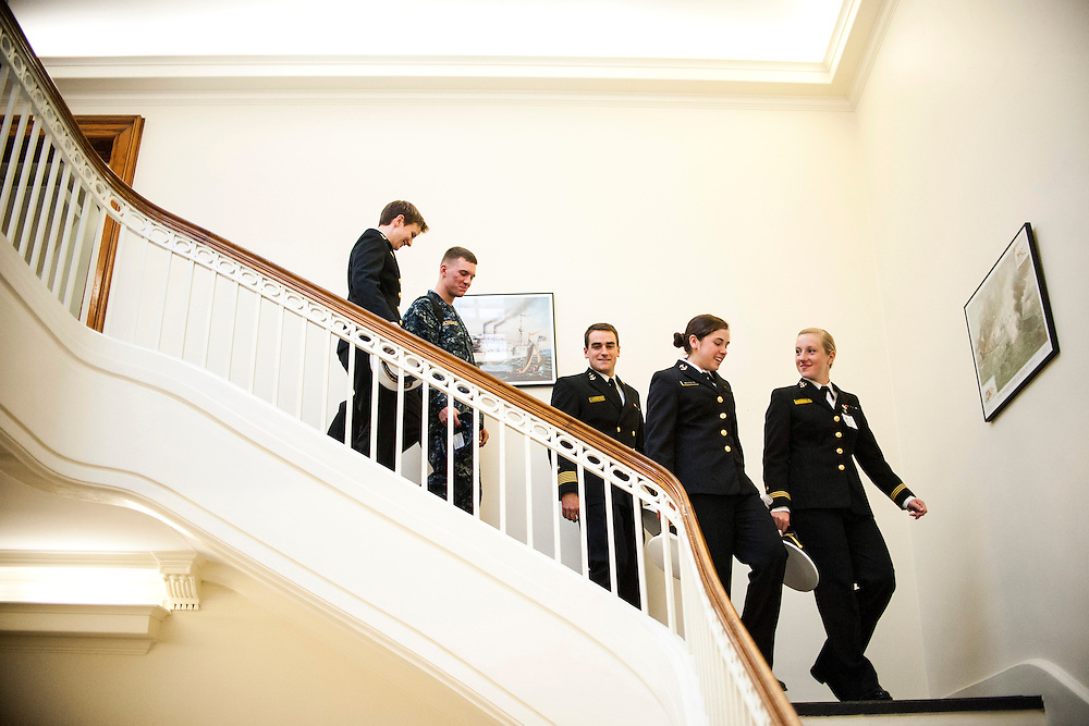 "photo by Matt Roth.Wednesday, October 17, 2012.Assignment ID: 3013301A..Naval Academy cadets (L-R) Midshipman Second Class Katherine ""Kay"" Moore, and president of the Academy's chapter of Spectrum, a support organization for openly gay members of the military, Midshipman First Class Nicholas Bonsall. both are openly gay, Brigade Commander Midshipman First Class Jonathan Poole, Midshipman First Class Michaela ""Mikey"" Bilotta, and Midshipman Phoebe Kotilkoff, all straight, leave for class in Annapolis, Maryland Wednesday, October 17, 2012 after participating in an interview with The New York Times discussing how the student body has handled the repeal of Don't Ask Don't Tell. The consensus points to a relatively wide spread acceptance of gay cadets among students on campus."