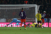 Manchester City striker Sergio Aguero (10) scores a goal 1-0 during the EFL Cup semi final second leg match between Burton Albion and Manchester City at the Pirelli Stadium, Burton upon Trent, England on 23 January 2019.