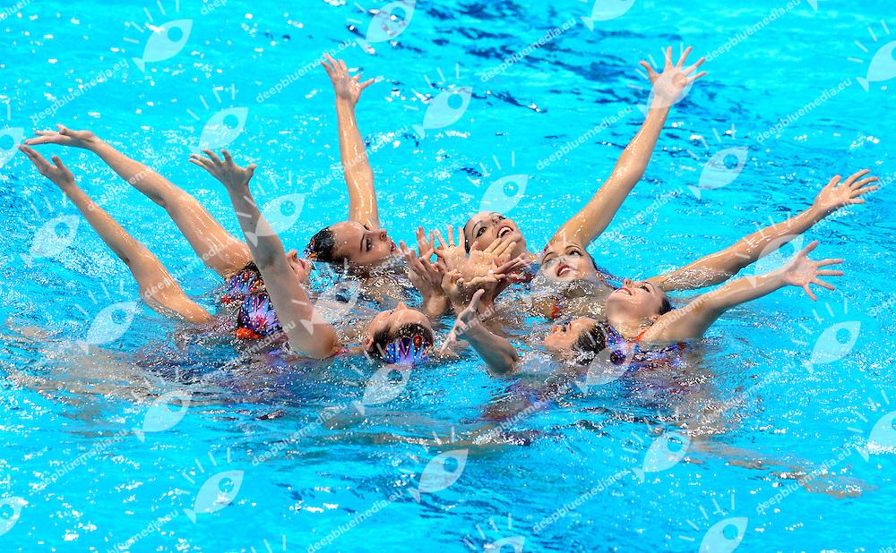 SPAIN ESP <br /> SALVADOR Cristina / JAUMA Helena<br /> MAS Meritxell / CAMACHO Clara<br /> JIMENEZ Cecilia / RAMIREZ Paula<br /> JUAREZ Carmen / CABELLO Alba<br /> Team Free Final <br /> London, Queen Elizabeth II Olympic Park Pool <br /> LEN 2016 European Aquatics Elite Championships <br /> Synchronized Swimming <br /> Day 05 13-05-2016<br /> Photo Andrea Staccioli/Deepbluemedia/Insidefoto